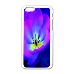 Blue And Purple Flowers Apple Iphone 6/6s White Enamel Case by AnjaniArt