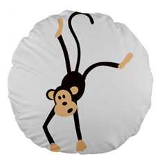 Colorful Animal Monkey Large 18  Premium Flano Round Cushions by AnjaniArt