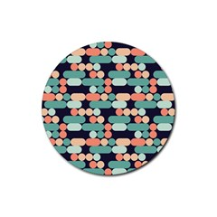 Coral Mint Color Style Rubber Coaster (round)  by AnjaniArt