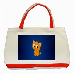 Cute Cat Classic Tote Bag (red) by AnjaniArt