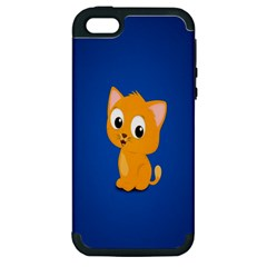 Cute Cat Apple Iphone 5 Hardshell Case (pc+silicone) by AnjaniArt