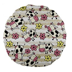 Cow Animals Large 18  Premium Flano Round Cushions by AnjaniArt