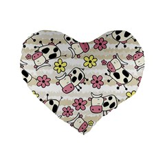 Cow Animals Standard 16  Premium Flano Heart Shape Cushions by AnjaniArt