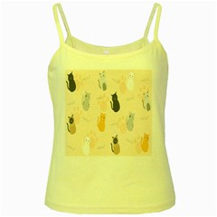 Cute Cat Meow Animals Yellow Spaghetti Tank by AnjaniArt