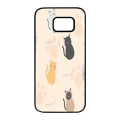 Cute Cat Meow Animals Samsung Galaxy S7 Edge Black Seamless Case by AnjaniArt