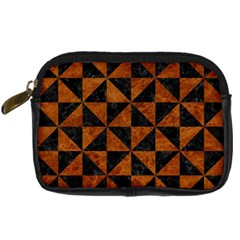 Triangle1 Black Marble & Brown Marble Digital Camera Leather Case by trendistuff