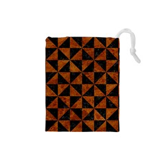 Triangle1 Black Marble & Brown Marble Drawstring Pouch (small) by trendistuff