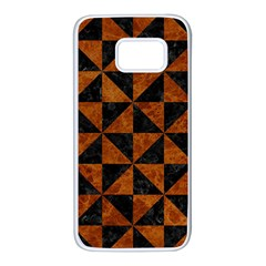 Triangle1 Black Marble & Brown Marble Samsung Galaxy S7 White Seamless Case by trendistuff
