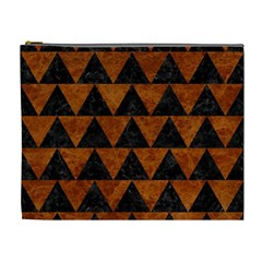 Triangle2 Black Marble & Brown Marble Cosmetic Bag (xl) by trendistuff