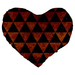 Triangle3 Black Marble & Brown Marble Large 19  Premium Flano Heart Shape Cushion by trendistuff