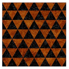 Triangle3 Black Marble & Brown Marble Large Satin Scarf (square) by trendistuff