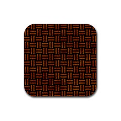 Woven1 Black Marble & Brown Marble Rubber Square Coaster (4 Pack) by trendistuff