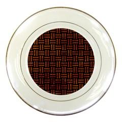 Woven1 Black Marble & Brown Marble Porcelain Plate by trendistuff