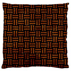 Woven1 Black Marble & Brown Marble Large Flano Cushion Case (one Side) by trendistuff