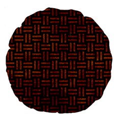 Woven1 Black Marble & Brown Marble Large 18  Premium Flano Round Cushion  by trendistuff