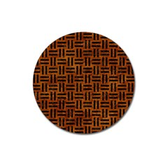 Woven1 Black Marble & Brown Marble (r) Magnet 3  (round) by trendistuff