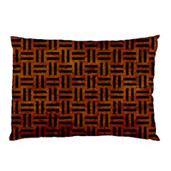 Woven1 Black Marble & Brown Marble (r) Pillow Case by trendistuff