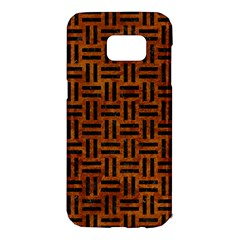 Woven1 Black Marble & Brown Marble (r) Samsung Galaxy S7 Edge Hardshell Case
