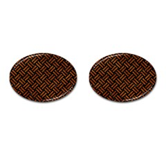 Woven2 Black Marble & Brown Marble Cufflinks (oval) by trendistuff