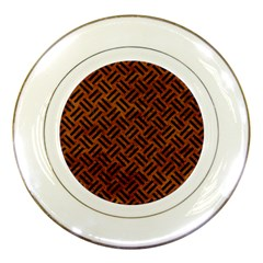 Woven2 Black Marble & Brown Marble (r) Porcelain Plate by trendistuff