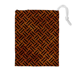 Woven2 Black Marble & Brown Marble (r) Drawstring Pouch (xl) by trendistuff