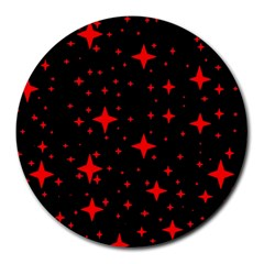 Bright Red Stars In Space Round Mousepads
