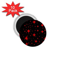 Bright Red Stars In Space 1 75  Magnets (10 Pack)
