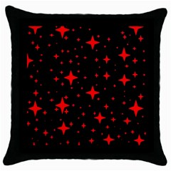 Bright Red Stars In Space Throw Pillow Case (black)
