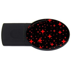 Bright Red Stars In Space Usb Flash Drive Oval (2 Gb)