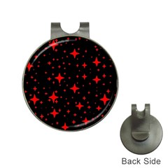 Bright Red Stars In Space Hat Clips With Golf Markers