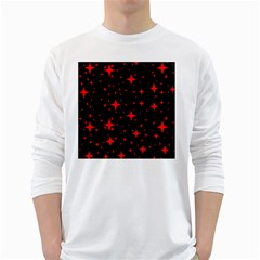 Bright Red Stars In Space White Long Sleeve T Shirts