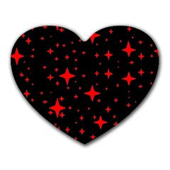 Bright Red Stars In Space Heart Mousepads by Costasonlineshop