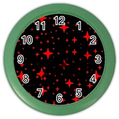 Bright Red Stars In Space Color Wall Clocks by Costasonlineshop