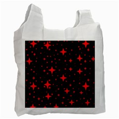 Bright Red Stars In Space Recycle Bag (one Side)