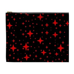 Bright Red Stars In Space Cosmetic Bag (xl)