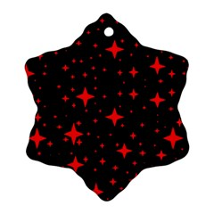 Bright Red Stars In Space Ornament (snowflake)  by Costasonlineshop