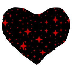 Bright Red Stars In Space Large 19  Premium Heart Shape Cushions by Costasonlineshop