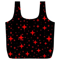 Bright Red Stars In Space Full Print Recycle Bags (l)