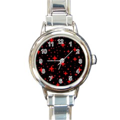 Bright Red Stars In Space Round Italian Charm Watch by Costasonlineshop