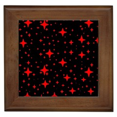 Bright Red Stars In Space Framed Tiles by Costasonlineshop