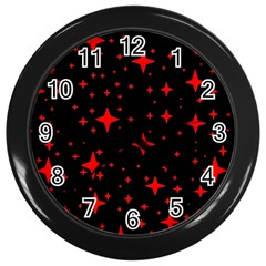 Bright Red Stars In Space Wall Clocks (black)