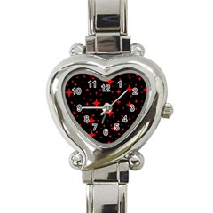 Bright Red Stars In Space Heart Italian Charm Watch