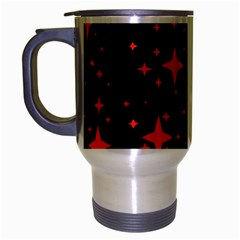 Bright Red Stars In Space Travel Mug (silver Gray) by Costasonlineshop