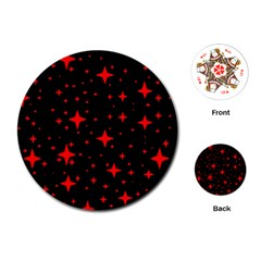 Bright Red Stars In Space Playing Cards (round)