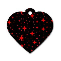 Bright Red Stars In Space Dog Tag Heart (one Side)