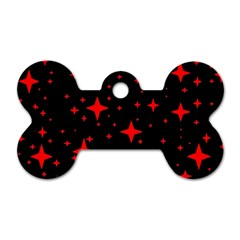 Bright Red Stars In Space Dog Tag Bone (two Sides)