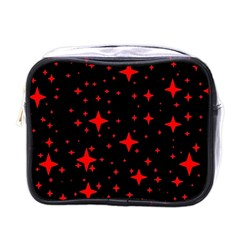 Bright Red Stars In Space Mini Toiletries Bags by Costasonlineshop