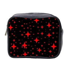 Bright Red Stars In Space Mini Toiletries Bag 2 Side