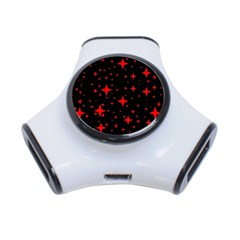 Bright Red Stars In Space 3 Port Usb Hub