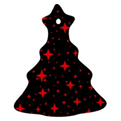 Bright Red Stars In Space Ornament (christmas Tree) by Costasonlineshop